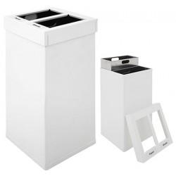 Poubelle tri sélectif Design aluminium blanc 2 x 52,5 L