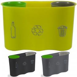Poubelle de tri sélectif bureau 2 inserts gris et vert