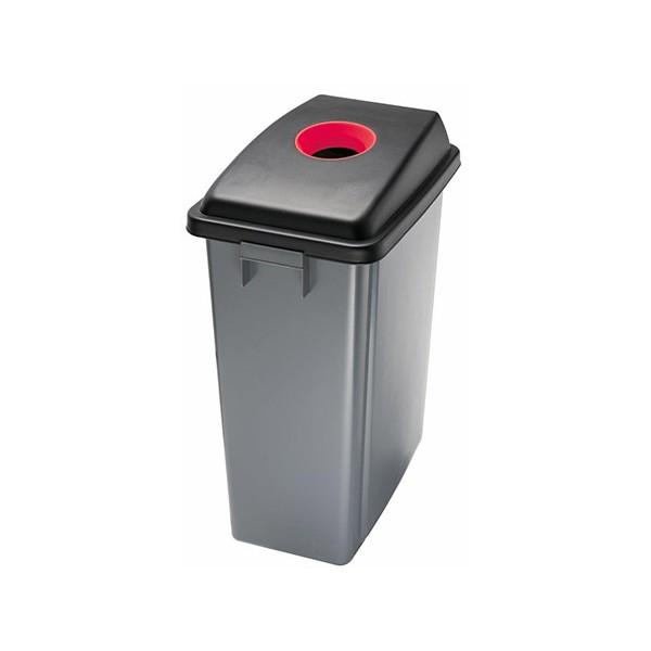 Corbeille de tri selectif Magic 60 l avec couvercle ouverture supérieur rouge