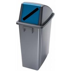 Corbeille de tri selectif Magic 60 l avec couvercle ouverture frontale bleu