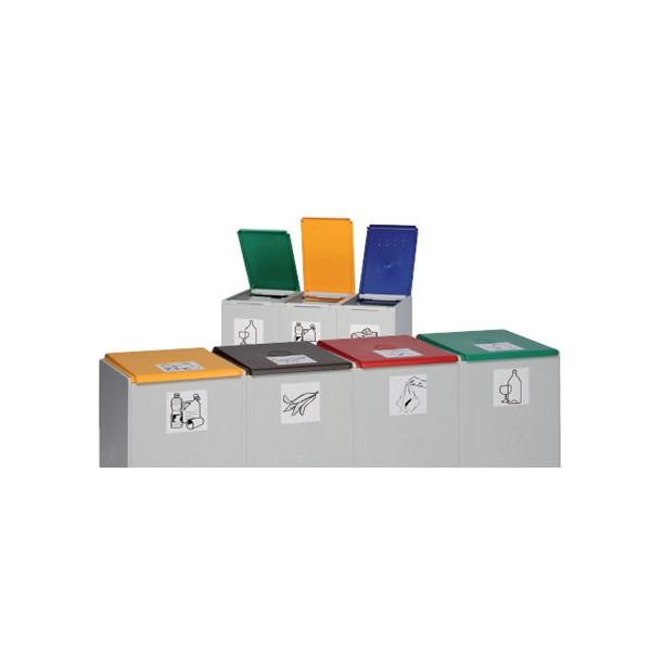 Couvercle marron de poubelle tri sélectif 40L (vendu uniquement avec le conteneur)