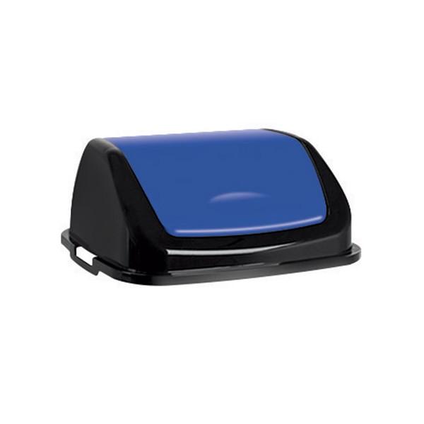 Couvercle basculant plastique Facile 50L bleu noir