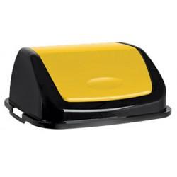 Couvercle basculant plastique Facile 50L jaune noir