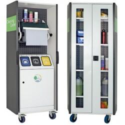 Station mobile de collecte et de nettoyage multifonction porte vitrée