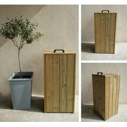 Corbeille bois avec couvercle bois Vosges 90 l
