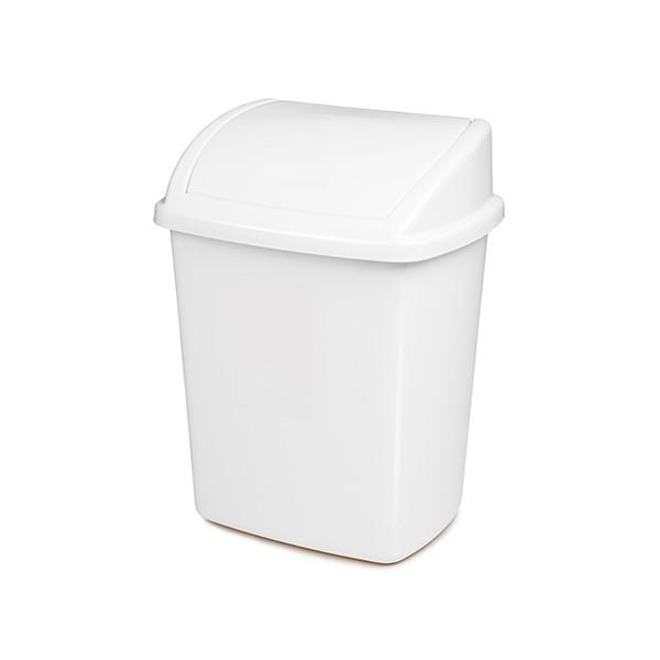 Lot de 6 Poubelles à couvercle basculant plastique blanc 15 L