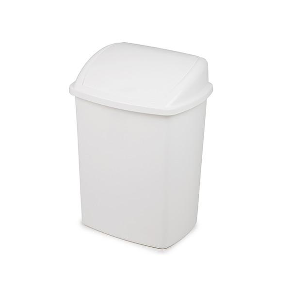 Lot de 6 Poubelles à couvercle basculant plastique blanc 35 L