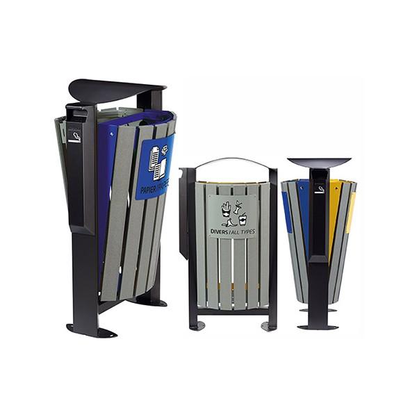 Corbeille tri sélectif acier et lames recyclées 2 x 60L avec cendrier 1,5L