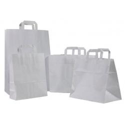 Sacs cabas poignées plates kraft blanc 32+16x45 (le carton de 250)