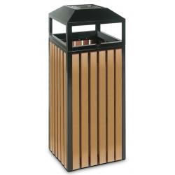 Cendrier corbeille métal et ABS 90 L noir et effet bois