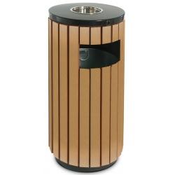 Cendrier corbeille métal et ABS 50 L noir et effet bois