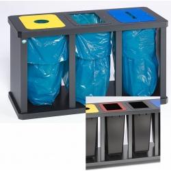 Station tri sélectif triple avec poubelle plastique H 67 x L 120 x P 52 cm