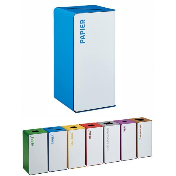 Poubelle de tri sélectif Cube 40L blanc papier sans serrure