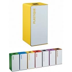 Poubelle de tri sélectif Cube 40L blanc tri plastique sans serrure