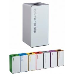 Poubelle de tri sélectif Cube 40L blanc déchets divers sans serrure