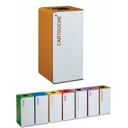 Poubelle de tri sélectif Cube 40L blanc tri cartouches avec serrure