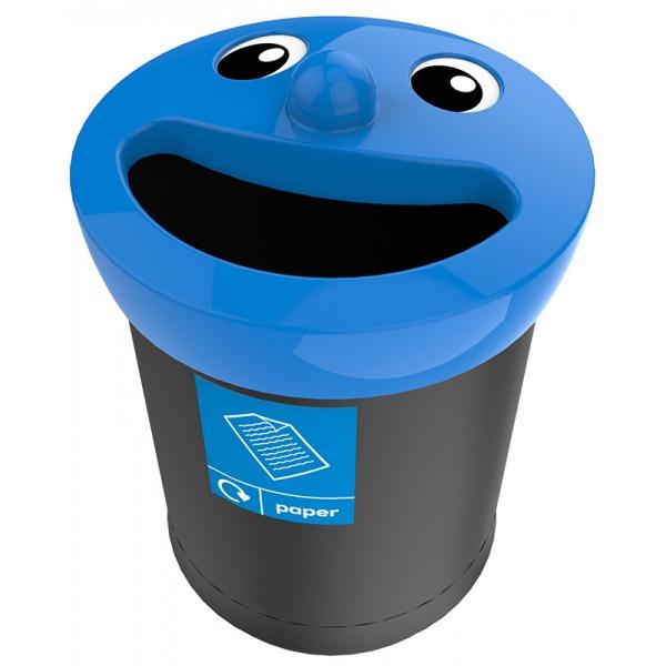Poubelle de tri sélectif Sourire couvecle bleu déchets papier 52 L
