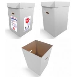 Poubelle de recyclage en carton blanc 100% recyclable 90 L