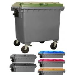 Bac roulant de collecte 100% recyclable 1000 L corps gris