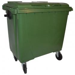 Bac roulant de collecte 100% recyclable 770 L corps vert couvercle vert