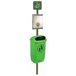 Poteau en acier galvanisé vert à sceller pour distributeur de sachets hygiène canine