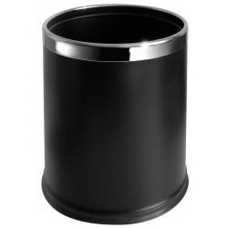 Poubelle de bureau en inox et simicuir noir 9 L