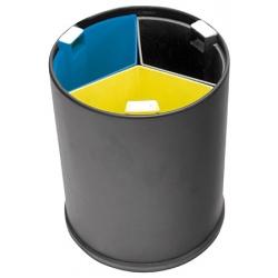 Lot de 4 poubelles tri selectif 3 flux 13 L noire