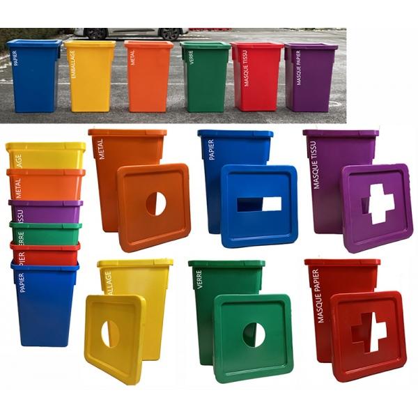 Ensemble de 6 bacs de tri des déchets Triplus 120 L