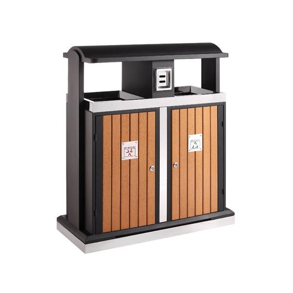 Poubelle extérieure tri sélectif évolution 2x50L avec cendrier