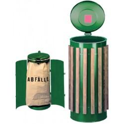 Poubelle compacte double battants habillage bois 110L