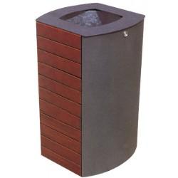 Corbeille Prune bois et acier avec bac 65L
