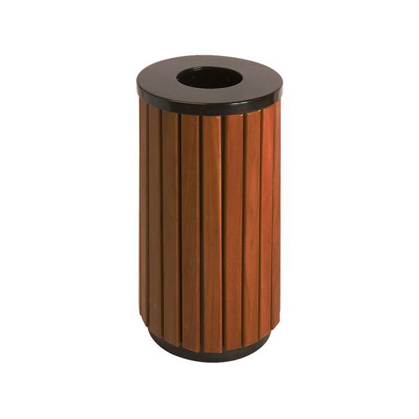 Poubelle extérieure ronde évolution acier et bois 40L