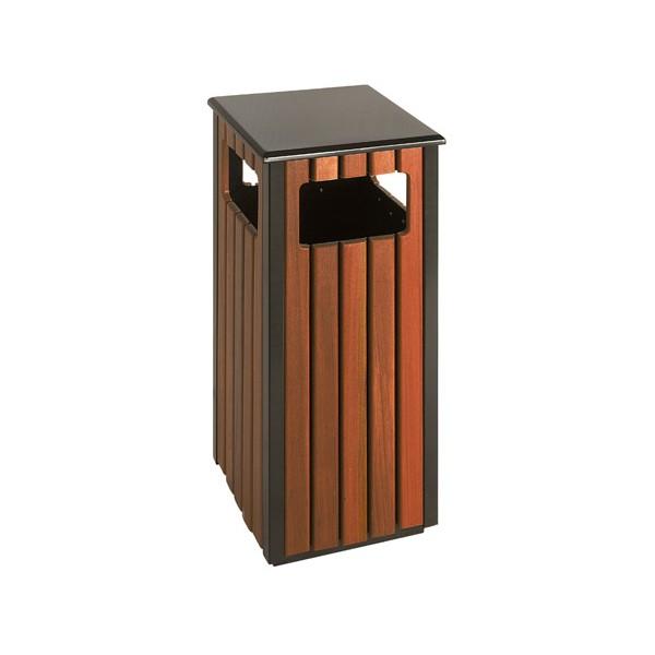 Poubelle extérieure carrée évolution acier et bois 36L