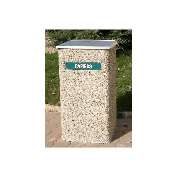 Poubelle béton carrée 70L 40x40xH85 cm avec couvercle inox gravillons lavés gros