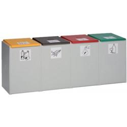 Poubelle tri sélectif 60L : conteneur quadruple