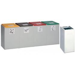Poubelle tri sélectif 40L : conteneur quadruple