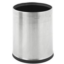 Corbeille à papier ronde à double paroi inox 10L