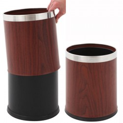 Corbeille à papier ronde à double paroi bois et inox 10L