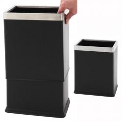 Corbeille à papier rectangulaire à double paroi noir et inox 10L