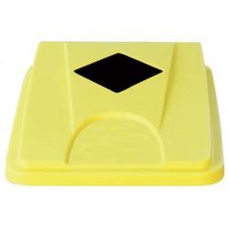 Couvercle jaune avec ouverture carrée pour collecteur tri selectif 60 L et 80 L