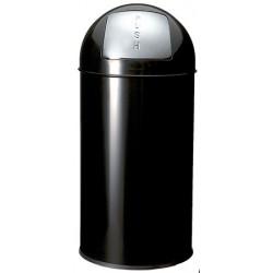 Poubelle push acier noir 40 L